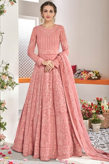 Beautiful Embroidery Work Peach Net Fabric Abaya Style Anarkali Suit And Dupatta