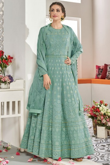 Embroidered Sea Green Net Fabric Abaya Style Anarkali Suit And Dupatta