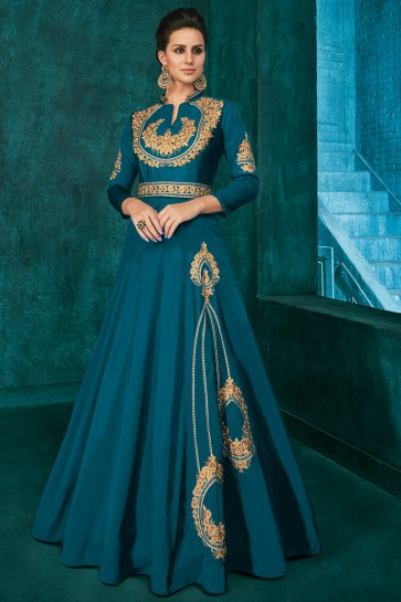 Graceful Embroidered Blue Silk Fabric Gown