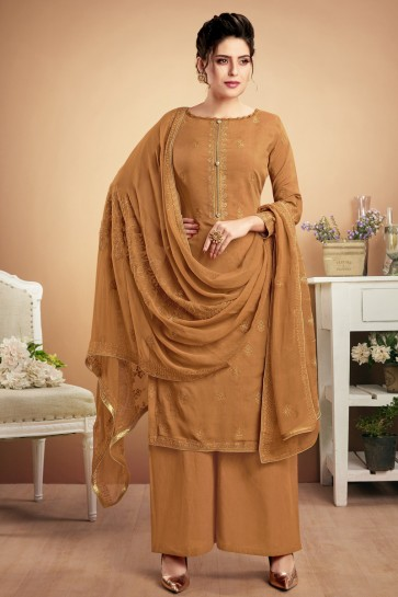 Muslin Khaki Embroidered Plazzo Suit With Chiffon Dupatta