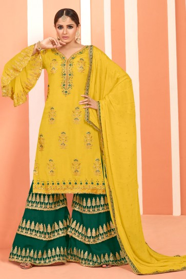 Marvelous Yellow Embroidered And Lace Work Faux Georgette Plazzo Suit With Net Dupatta