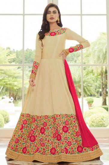 Designer Embroidered Cream Silk Anarkali Suit With Nazmin Dupatta
