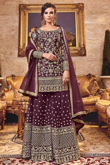 Delightful Violet Embroidered Art Silk Plazzo Suit With Net Dupatta