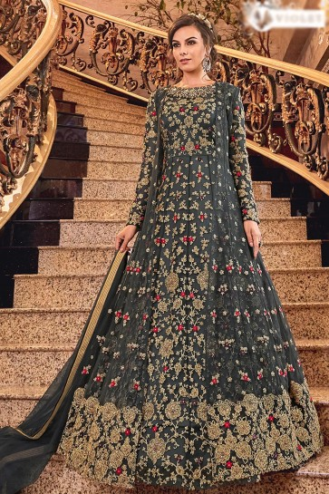 Supreme Charcoal Embroidered Net Anarkali Suit With Net Dupatta