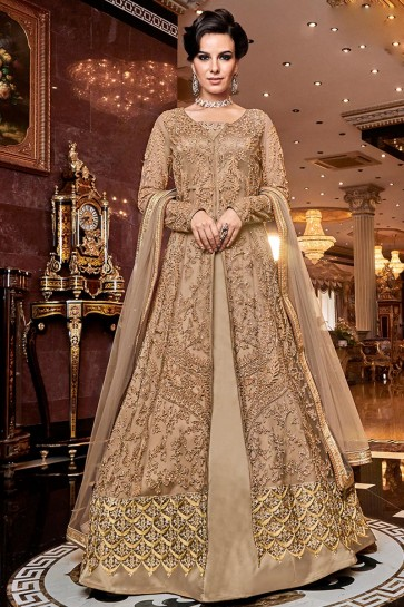 Heavy Designer Golden Embroidered Net Anarkali Suit With Net Dupatta