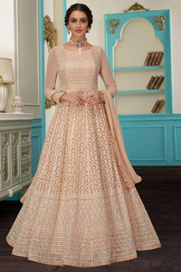 Embroidered Designer Cream Georgette Fabric Abaya Style Anarkali Suit With Nazmin Dupatta