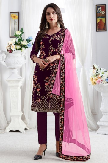 Wine Resham Embroidered Velvet Fabric Salwar Suit With Net Dupatta