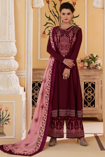 Maslin Fabric Magenta Embroidered Designer Plazzo Suit And Santoon Bottom