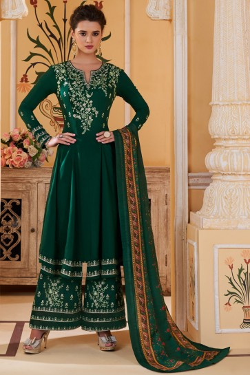Heavy Designer Green Maslin Fabric Embroidery Work Plazzo Suit And Dupatta