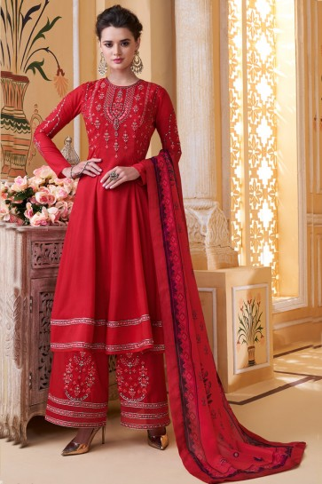 Red Maslin Fabric Embroidery Work Designer Plazzo Suit And Dupatta