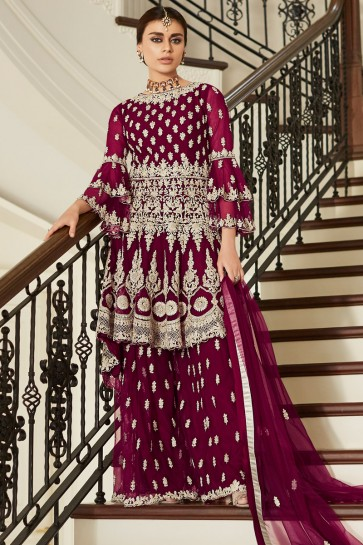 Delightful Maroon Net Fabric Embroidery And Hand Work Sharara Style Plazzo Suit And Dupatta