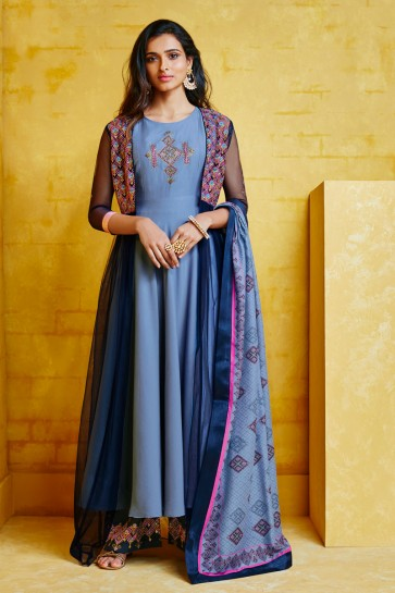 Admirable Embroidered Cyan Maslin Fabric Plazzo Suit And Dupatta