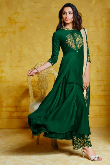 Embroidery Work Green Maslin Fabric Designer Plazzo Suit And Dupatta