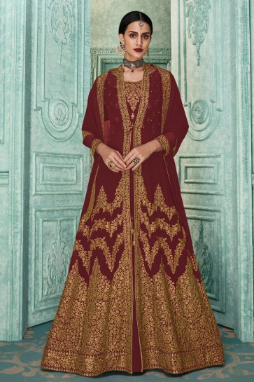 Embroidered Designer Embroidered Maroon Faux Georgette Anarkali Suit And Dupatta