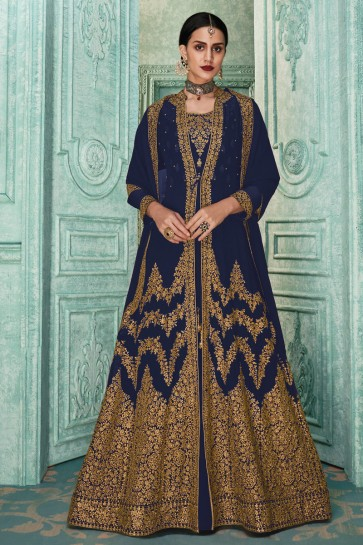 Beautiful Purple Embroidered Designer Faux Georgette Anarkali Suit And Dupatta