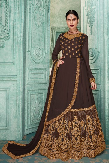 Charming Brown Embroidered Faux Georgette Anarkali Suit And Dupatta