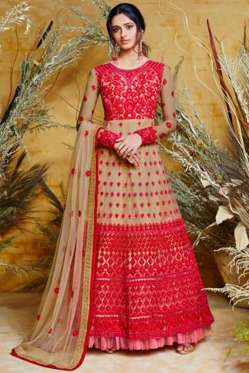 Designer Embroidered Beige Net Anarkali Suit And Dupatta