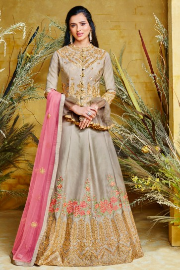 Embroidered Designer Silver Net And Silk Anarkali Suit And Dupatta