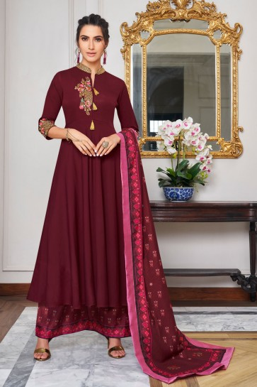 Charming Maroon Embroidered Maslin Plazzo Suit And Dupatta