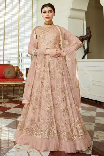 Beautiful Pink Designer Net Embroidered Anarkali Suit And Dupatta