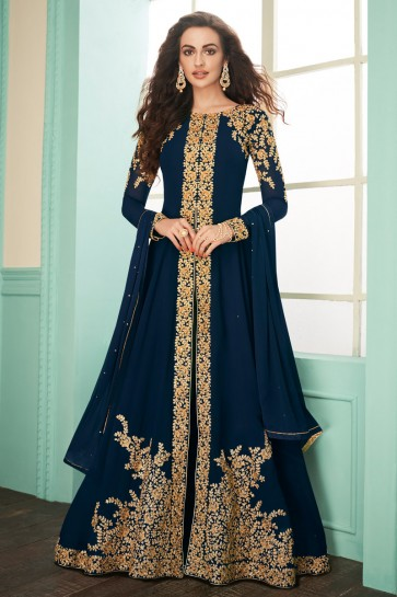 Charming Navy Blue Embroidered Georgette Anarkali Suit With Chinon Dupatta