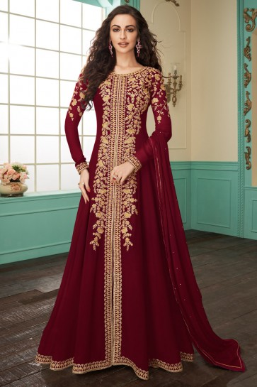 Designer Maroon Embroidered Georgette Anarkali Suit With Chinon Dupatta
