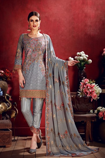 Gorgeous Georgette Silver Embroidered Salwar Suit With Net Dupatta