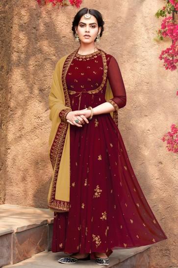 Designer Maroon Embroidered Faux Georgette Anarkali Suit With Nazmin Dupatta