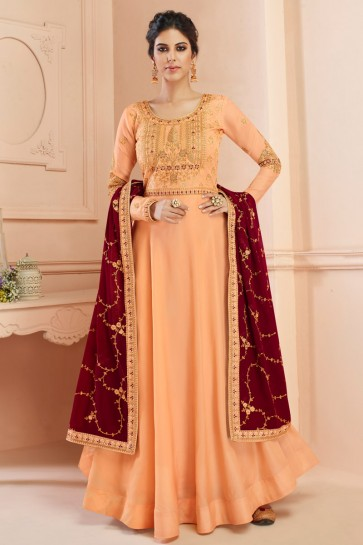 Charming Peach Embroidered Silk Anarkali Suit With Georgette Dupatta