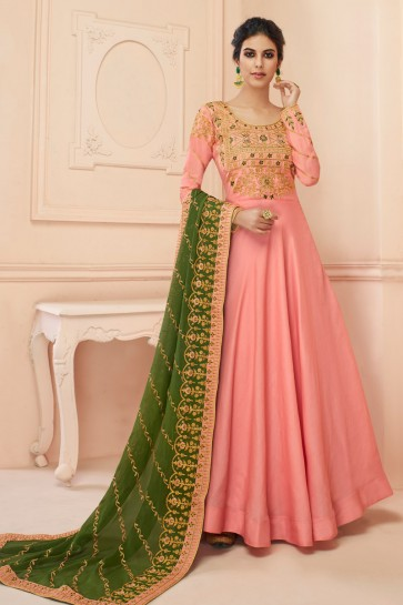 Beautiful Light Pink Embroidered Designer Silk Anarkali Suit With Georgette Dupatta