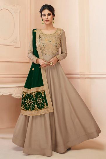 Designer Grey Embroidered Silk Anarkali Suit With Georgette Dupatta