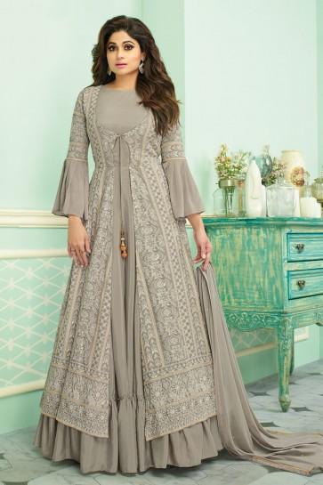 Shamita Shetty Embroidered Grey Georgette Fabric Anarkali Suit With Chinon Dupatta
