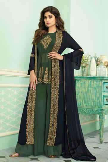 Shamita Shetty Georgette Designer Green Embroidered Plazzo Suit With Chinon Dupatta