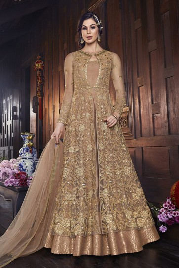 Golden Net Embroidered Abaya Style Anarkali Suit And Dupatta