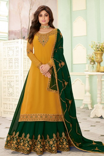 Shamita Shetty Yellow Georgette Embroidered Lehenga Suit And Dupatta
