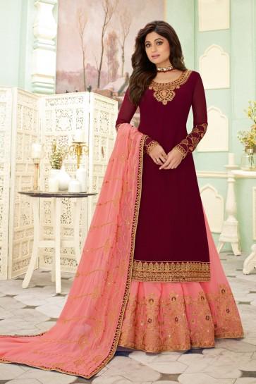 Shamita Shetty Embroidered Maroon Georgette Fabric Lehenga Suit And Dupatta