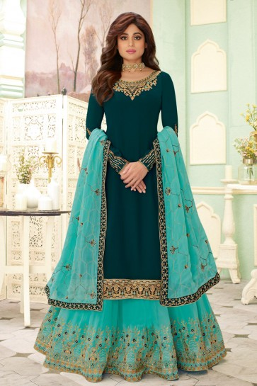Shamita Shetty Georgette Designer Teal Embroidered Lehenga Suit And Dupatta