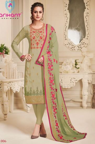 Green Silk Embroidered Designer Salwar Suit With Chiffon Dupatta