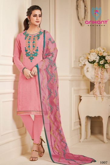 Desirable Pink Silk Embroidered Designer Salwar Suit With Chiffon Dupatta