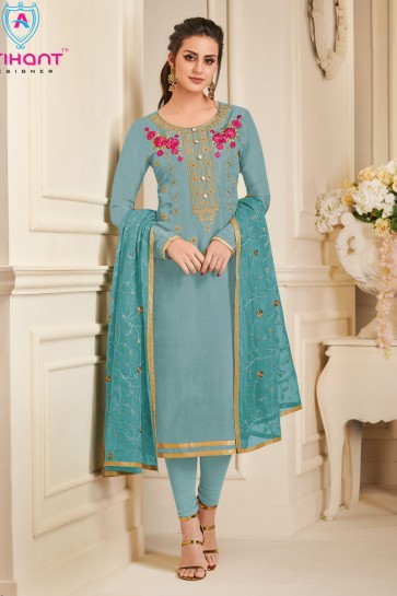 Stylish Sky Blue Silk Embroidered Designer Salwar Suit With Chiffon Dupatta