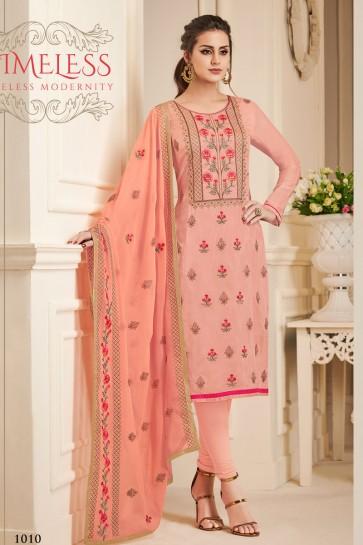 Pink Silk Embroidered Designer Salwar Suit With Chiffon Dupatta
