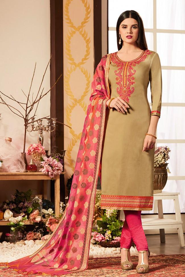 7bfcece8b9 Gorgeous Beige Cotton Silk Embroidered Casual Salwar Suit With Banarasi  Silk Dupatta
