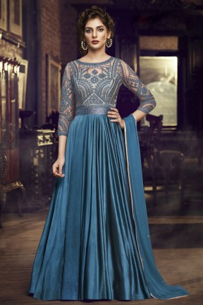 Turquies Satin Embroidered Lace Work Gown