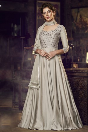 Embroidered Lace Work Cream Satin Fabric Gown