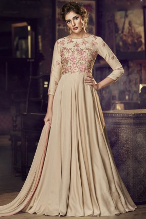 Satin Designer Chikoo Embroidered Lace Work Gown