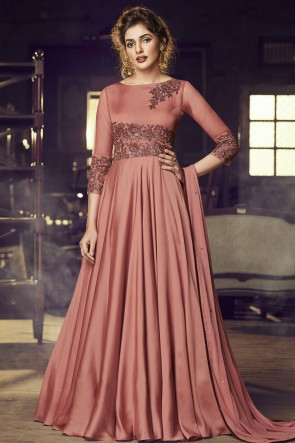 Designer Peach Embroidered Lace Work Satin Gown