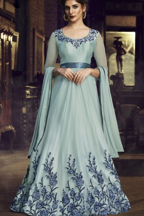 Sky Blue Net Embroidered Lace Work Gown