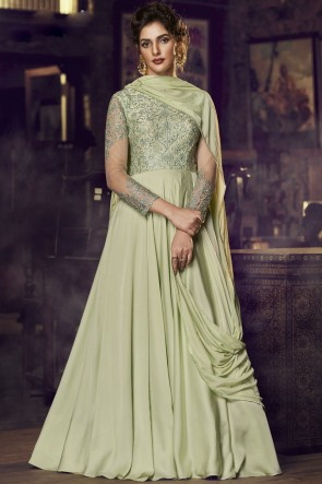 Green Satin Embroidered Lace Work Gown