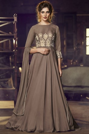 Designer Brown Embroidered Lace Work Satin Gown