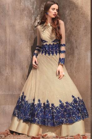 Beige Georgette Embroidered Stone Work Designer Anarkali Suit With Dupatta
